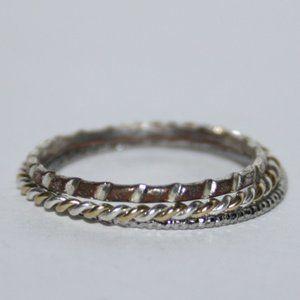 Stacking thin band ring set